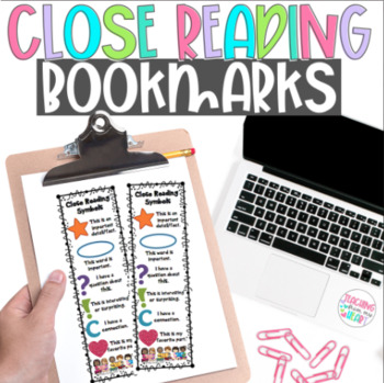 Close Reading Symbols Bookmarks, winter, Valentine's Day,