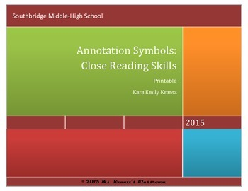 Close Reading & Annotation Symbols Printable