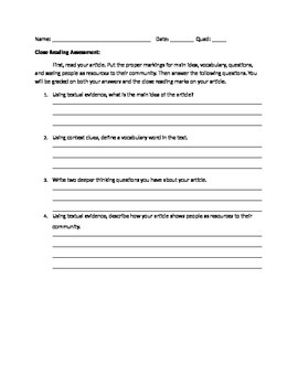 Close Reading Assessment