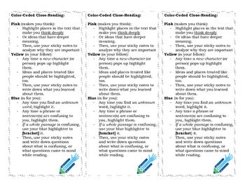 Close-Reading Color-Coding Bookmark