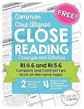 Close Reading - Compare and Contrast Two Texts FREEBIE (RI