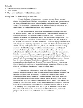 Close Reading - Declaration of Independence
