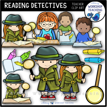 Close Reading Detectives Clip Art - Whimsy Workshop Teaching