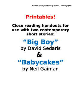 Close Reading Handouts for Big Boy and Babycakes - author'