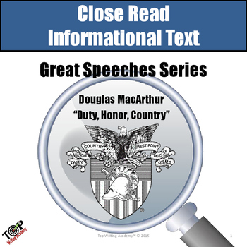 """Close Reading Informational Text """"Great Speeches"""" Douglas"""