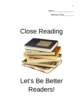 Close Reading Introduction Lesson (student packet)
