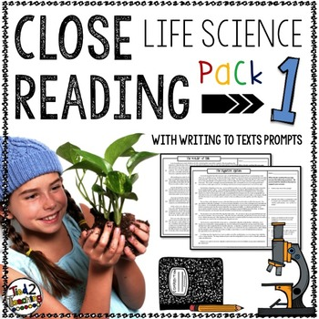 Life Science Reading Passages and Writing Prompts