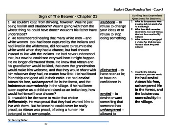 Close Reading Lesson Plan: The Sign of the Beaver - Chapte