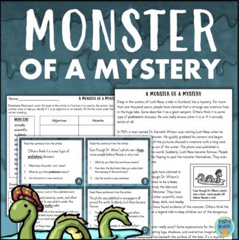 Loch Ness Monster Close Reading Activities