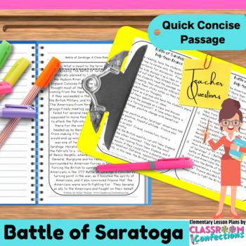 Battle of Saratoga: Non-Fiction Reading Passage