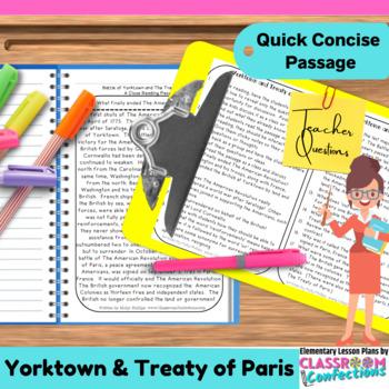 Battle of Yorktown and Treaty of Paris: Non-Fiction Readin