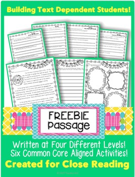 """Close Reading Passage """"FREEBIE"""" for Spring"""