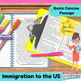Immigration: Non-Fiction Reading Passage