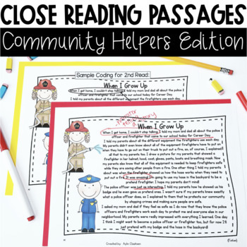 Close Reading Passages: Community Helpers Edition
