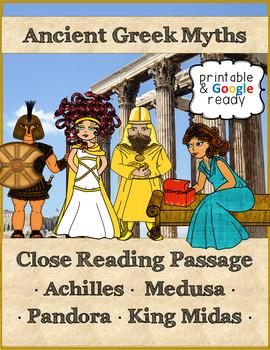 Close Reading Passages - Greek Myths Bundle