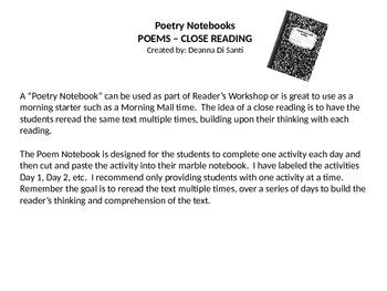 Close Reading 3rd grade - Poetry Notebook (daily activitie