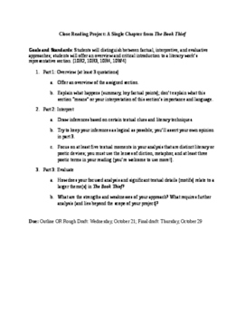 Close Reading Project: Summary, Interpretation, Evaluation