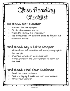 Close Reading {2 Checklists & Graphic Organizer}