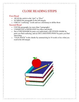 Close Reading Steps Poster