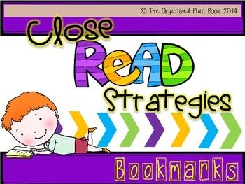 Close Reading Strategy Bookmarks