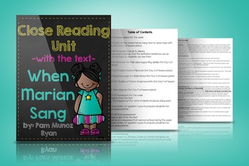 """Close Reading Unit with the text """"When Marian Sang"""""""