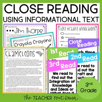 Close Reading Informational Text: 3rd Grade