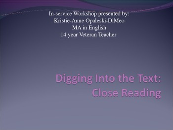 Close Reading Workshop For Teachers