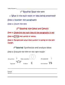 Close Reading activity for students