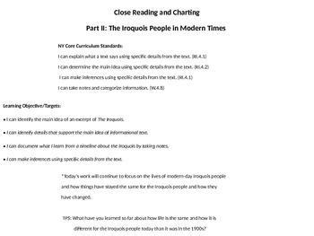 Close Reading and Charting  Part II: The Iroquois in Modern Times