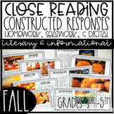 Close Reading with Constructed Response Seat Work/Homework: Fall