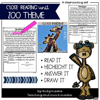 Close Reading zoo themed