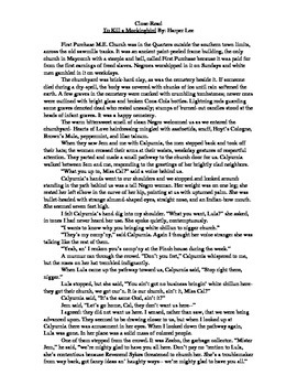"""Close read of """"To Kill a Mockingbird"""" excerpt with text de"""
