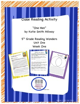 """Close reading activities for """"One Hen"""" Reading Wonders 5th Grade"""