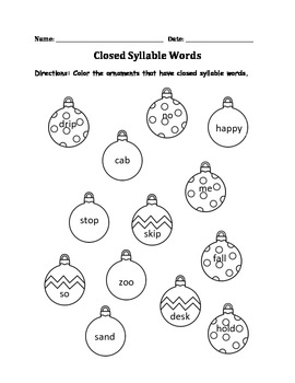 Closed Syllable Christmas Worksheet