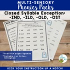 Closed Syllable Exception: IND, ILD, OLD, OST Phonics Printables