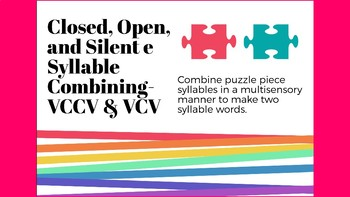 Closed syllable puzzle pieces with silent e and open syllables