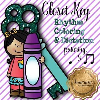 Closet Key Coloring/Dictation Page (ta & ti-ti prep & practice