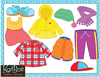 Clothes and Seasonal and Everyday Clothes Bundle Clip Art