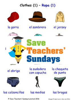 Clothes in Spanish Worksheets, Games, Activities and Flash