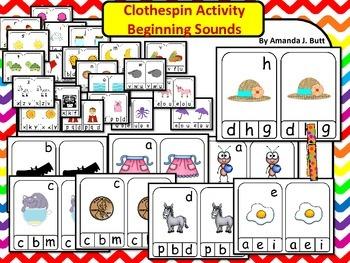 Clothespin Center: Beginning Sounds; Alphabet; Phonics; Ki