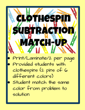 Clothespin Color Subtraction Match Up