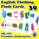 ESL Clothing and Accessories Flash Cards. Socks, shirt, ja
