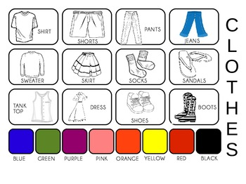 Clothing Pictures PECS