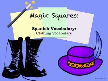 Clothing Vocabulary Spanish Magic Squares Puzzle