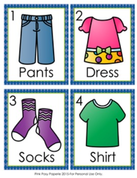 Clothing Write the Room Activity