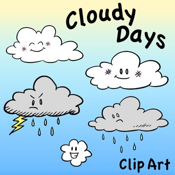 Cloud Characters Clip Art, Cloudy Days, Storm Cloud, Rain