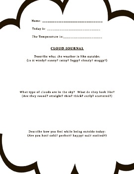 Cloud Journal Worksheet