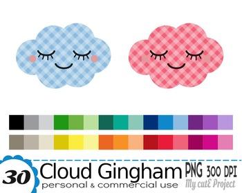 Cloud Kawaii Gingham - Clipart - 30 colors - 30 PNG files