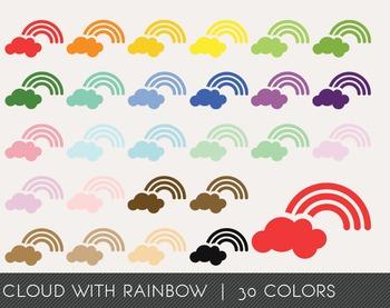Cloud with rainbow Digital Clipart, Cloud with rainbow Graphics