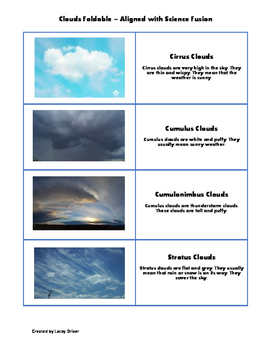 Clouds Foldable - Science Fusion Aligned